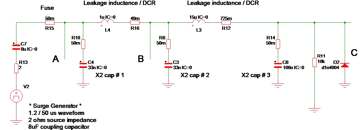 crude differential mode surge spice circuit
