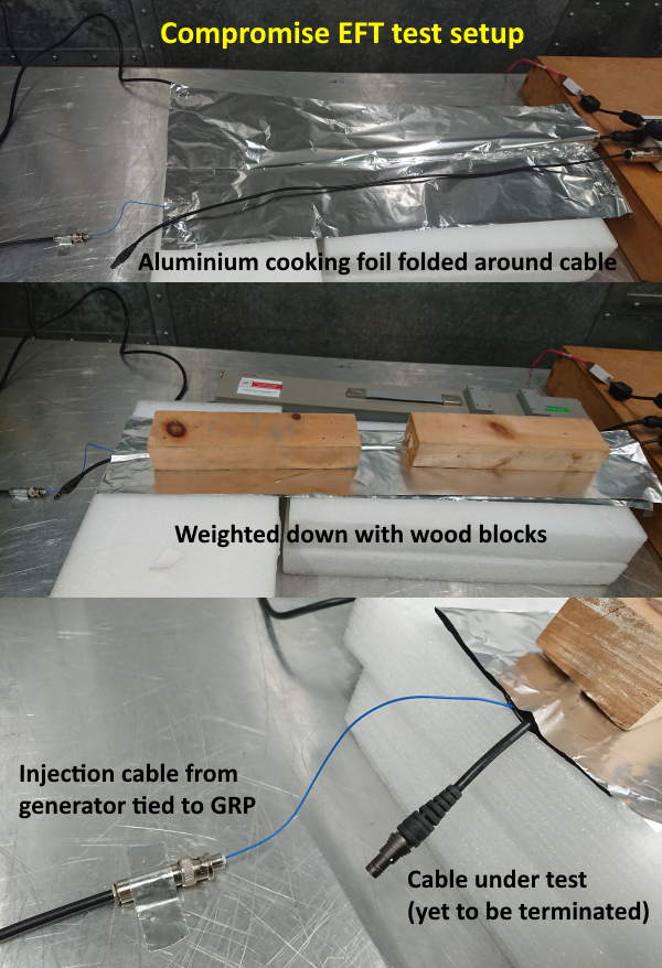 Details of a compromise EFT test setup using aluminium foil and foam blocks.