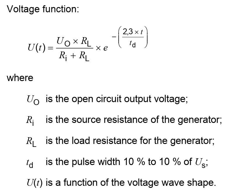 iso 7637-2 pulse shape equation