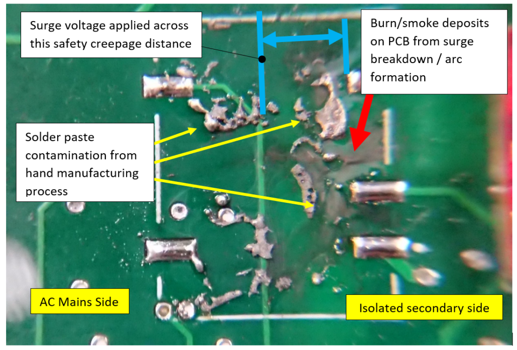 conductive contamination underneath surface mount isolated power supply causing line to earth surge failure(marked up photo)